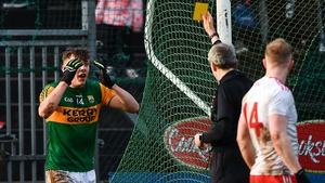 Referee Fergal Kelly shows David Clifford a second yellow card