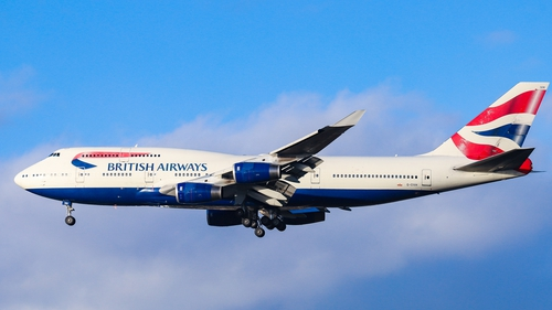 Boeing 747-436 made the  transatlantic journey in 4 hours and 56 minutes (file image)