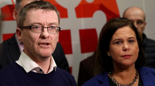 David Cullinane appeared alongside party leader Mary Lou McDonald this evening