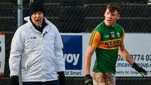 David Clifford of Kerry remonstrates with a sideline official after being sent off