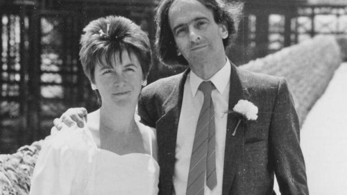Alison Light and her husband Raphael on their wedding day in 1987
