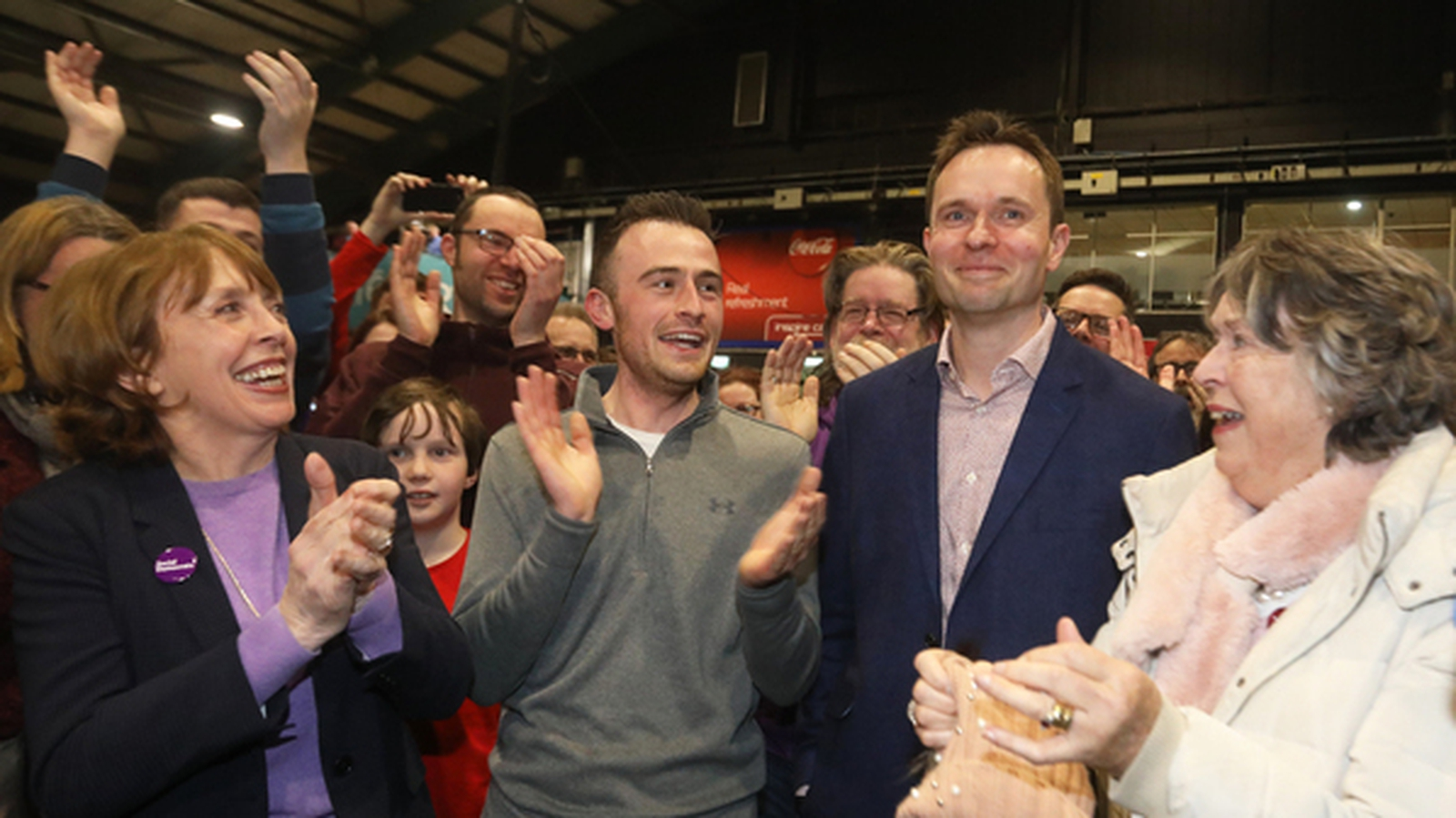 Image - The Social Democrats celebrate as Cian O'Callaghan is elected (Credit Rollingnews.ie)