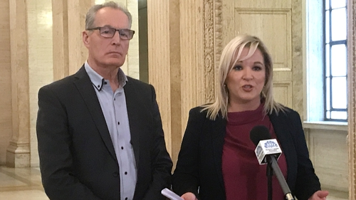 Michelle O'Neill, with Gerry Kelly, making the announcement at Stormont