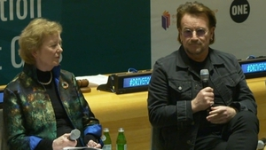 Mary Robinson and Bono helped launch the 'Drive for Five' campaign