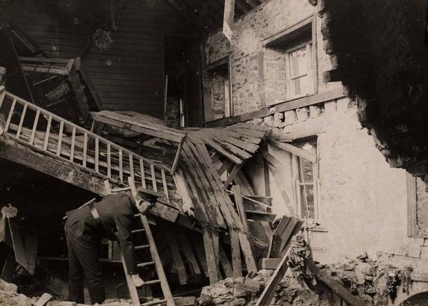 Some of the damage to Ballytrain barracks Photo: National Library of Ireland, HOGW 53