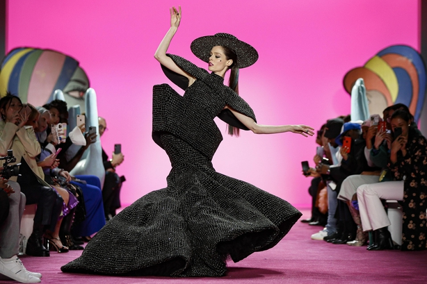 Coco Rocha wears the final look of the Christian Siriano collection
