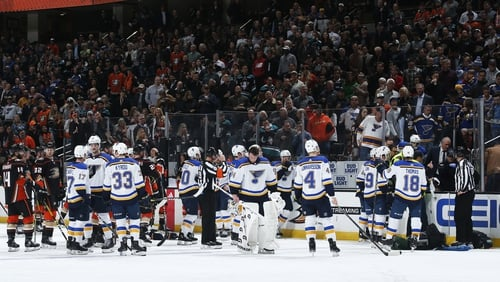 Blues-Ducks postponed after Bouwmeester collapses on bench