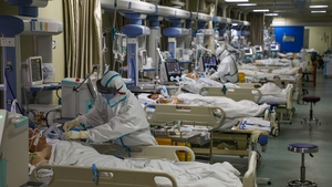 Medical staff at work in the intensive care unit in a hospital in Wuhan