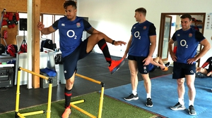 Anthony Watson (L) will miss England's Six Nations clash with Ireland