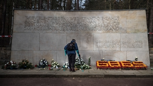 A man stands in front of the memorial to commemorate the 75th anniversary of the destruction of Dresden