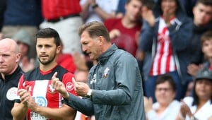 Shane Long and Ralph Hasenhuttl on the touchline at Southampton