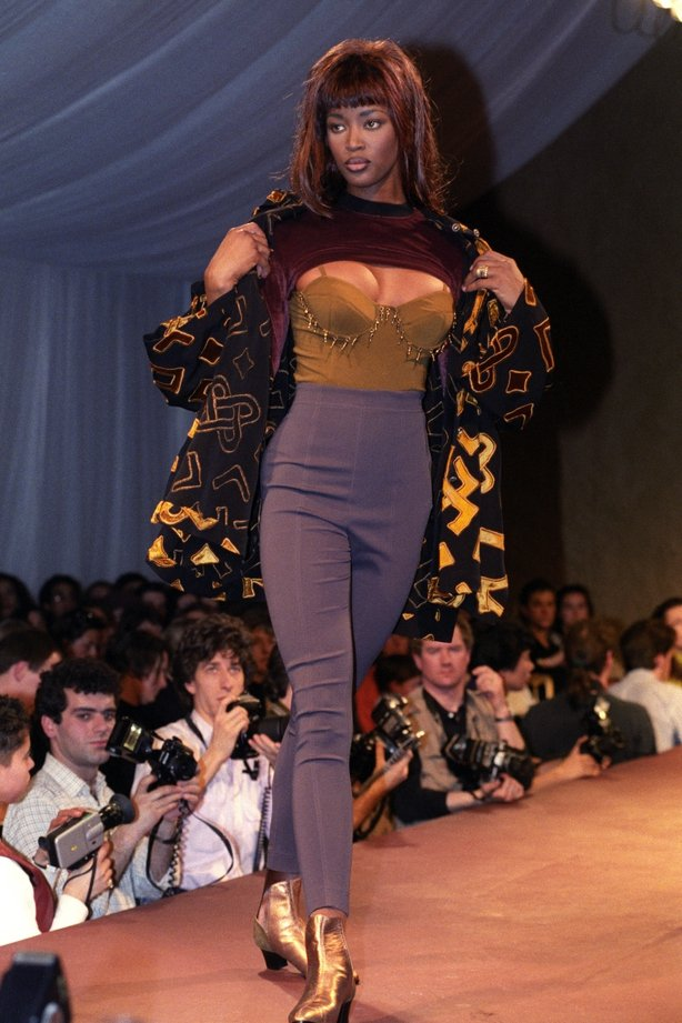 Naomi Campbell on the catwalk for Ozbek in March 1991 (Malcolm Croft/PA)