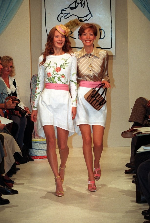 Kate Moss modelling from the Bella Freud Spring/Summer 1994 Collection during the first day of the London Fashion Week.