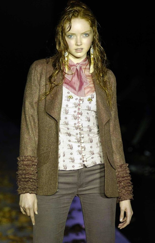 16-year-old Lily Cole on the catwalk for Frost French in February 2004 (Andy Butterton/PA)