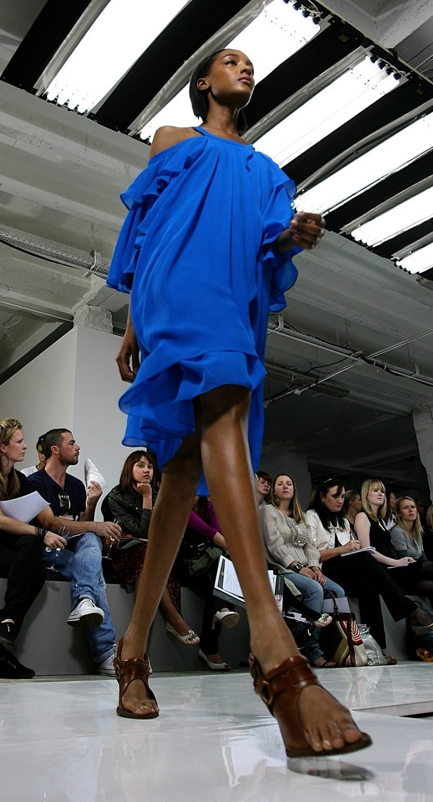 Jourdan Dunn walking the catwalk for Unique in September 2007 (Lewis Whyld/PA)