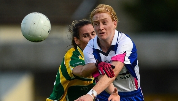 Gráinne Kenneally (R) in action against Leitrim's Áine Heslin back in 2015