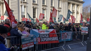 Community employment scheme workers marched from Dublin's Custom House to the Department of Finance