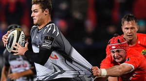 Southern Kings' Edmund Ludick (L) in action against Munster earlier this year