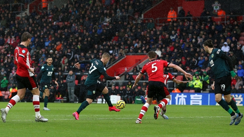 Matej Vydra tees up for his winning goal at St Mary's