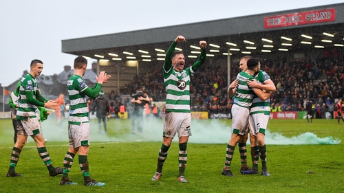 Start as you mean to go on - Rovers celebrate an opening-day victory at Dalymount Park