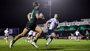 Kyle Godwin glides in to score Connacht's fourth and final try in their one-sided win over Cardiff Blues