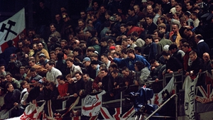 England supporters in the Upper West Stand of Lansdown Road where rioting broke out in 1995