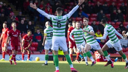 Kristoffer Ajer wheels away in celebration after scoring the winner against Aberdeen