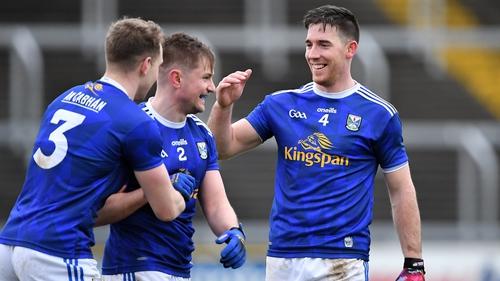 Cavan players Padraig Faulkner, Stephen Murray and Killian Brady celebrate