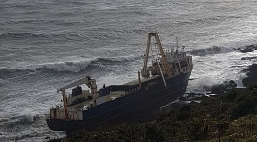 Abandoned cargo ship runs aground on Cork coast