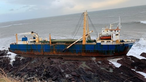The MV Alta is in an unstable condition on an inaccessible stretch of coastline