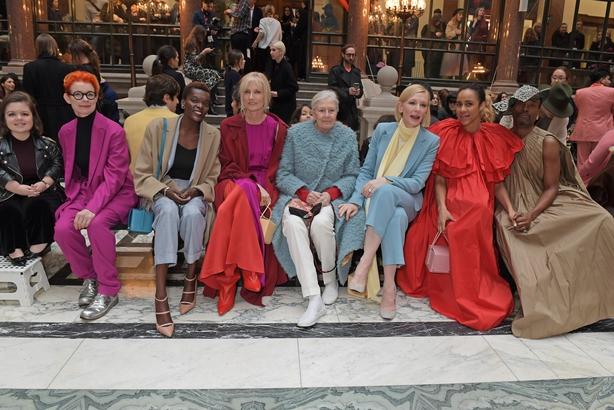 Sinead Burke, Sandy Powell, Sheila Atim, Joely Richardson, Vanessa Redgrave, Cate Blanchett, Zawe Ashton and Billy Porter attend the Roksanda show during London Fashion Week