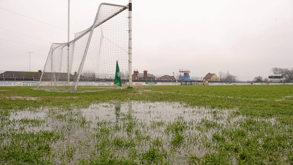 A sodden pitch in the month of February