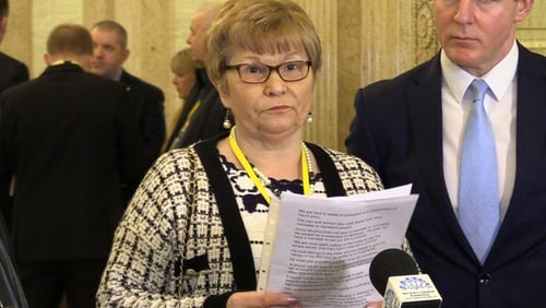 Breege Quinn addresses the media at Stormont today