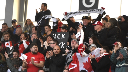 Toronto Wolfpack rugby fans at the Emerald Headingley Stadium in Leeds for the game against Castleford Tigers. Photo: George Wood/Getty Images