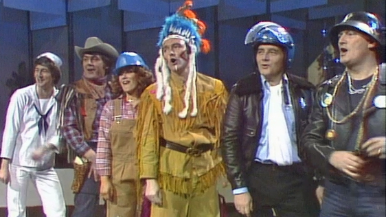 Dermot Morgan as a sailor, Sean Dunphy as a cowboy, Twink as a construction worker, Mike Murphy a native American Indian, Larry Gogan as a policeman and Liam Nolan as leatherman.