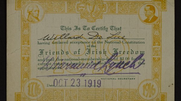Membership card of Willard de Lue of the Friends of Irish Freedom, October 23rd 1919. Image courtesy of the National Library of Ireland