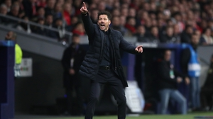 Diego Simeone was typically animated on the Atletico sideline