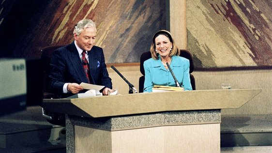 Journalist and novelist Shirley Conran with Gay Byrne on The Late Late Show (1990)