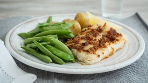 The cod can be prepared with the pesto and pepper and kept covered with cling film for up to 2 days on the bottom shelf of the fridge