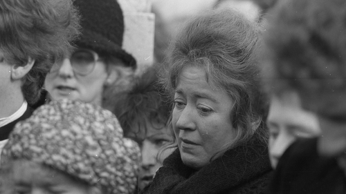 Deirdre O'Connell, pictured at the funeral of her husband Luke Kelly in 1984. Photo: Independent News And Media/ Getty Images