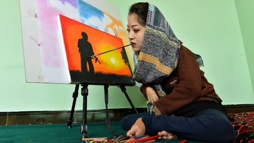 Some 50 students attend classes at Robaba Mohammadi's centre in Kabul, which she opened last year