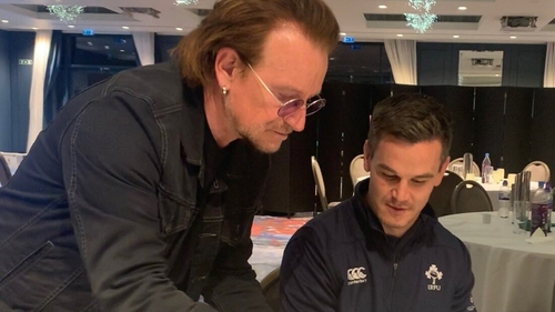 Bono was a visitor to the team's hotel on Tuesday (Pic U2 Twitter)
