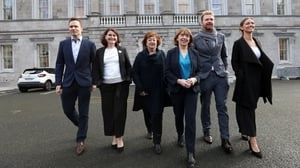 Walking the party line: Social Democrats Cian O'Callaghan TD, Jennifer Whitmore TD, Catherine Murphy TD, Róisín Shortall TD, Gary Gannon TD and Holly Cairns TD (Pic: RollingNews.ie)