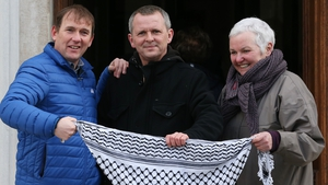 People-Before-Profit's Gino Kenny TD, Richard Boyd Barrett TD, and Bríd Smith TD outside Leinster House (Pic: RollingNews.ie)