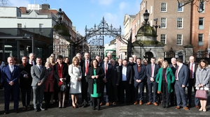 TDs gathered at the gates of Leinster House
