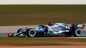 Lewis Hamilton guides his Mercedes around the Circuit de Catalunya