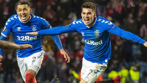 Rangers' Ianis Hagi (R) celebrates his winner