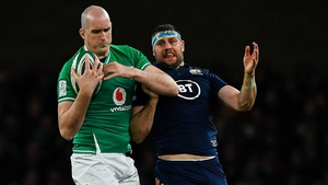 Ireland's Devin Toner beats Nick Haining for possession in the 19-12 win over Scotland in the Six Nations