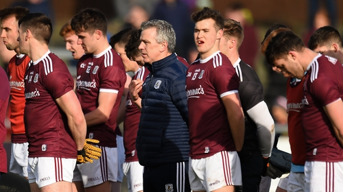 Galway manager Padraic Joyce, centre, with his players before the clash with Donegal