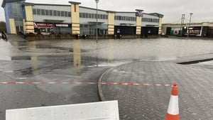 Flooding at the car park at Carrick Retail Park in Carrick-on-Shannon, Co Leitrim